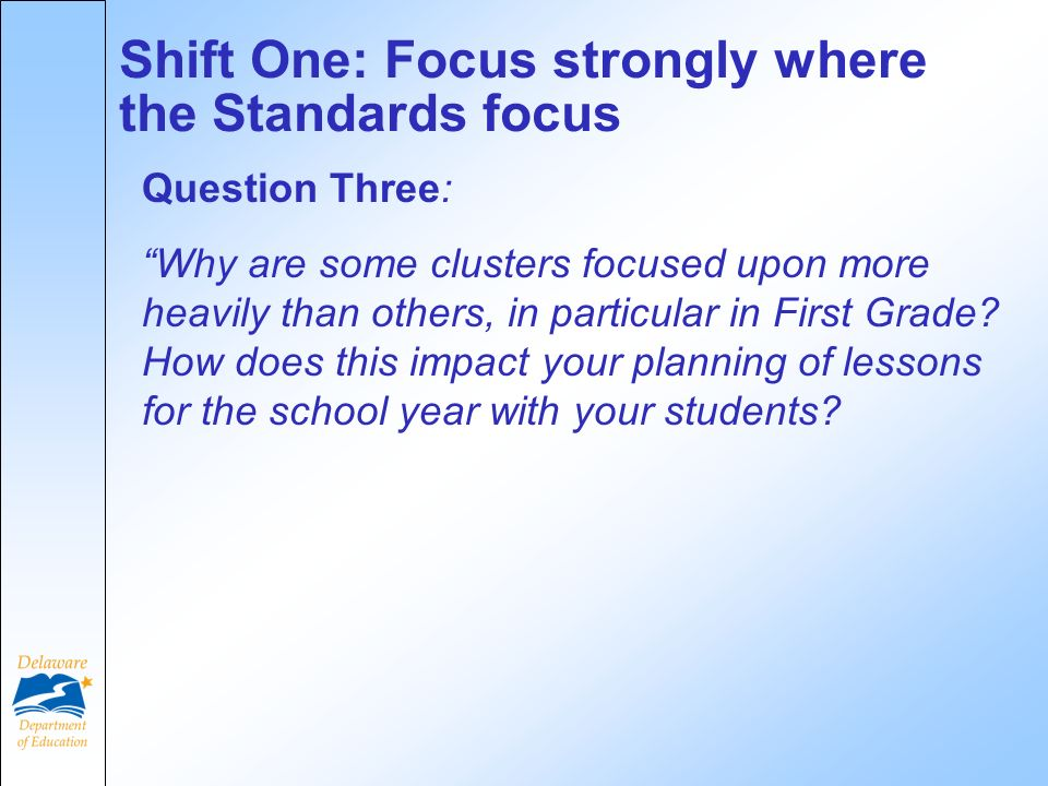 Question Three: Why are some clusters focused upon more heavily than others, in particular in First Grade.