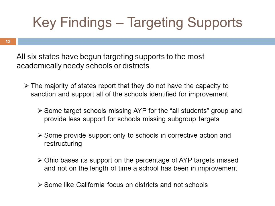 Key Findings – Targeting Supports 13 The majority of states report that they do not have the capacity to sanction and support all of the schools ident