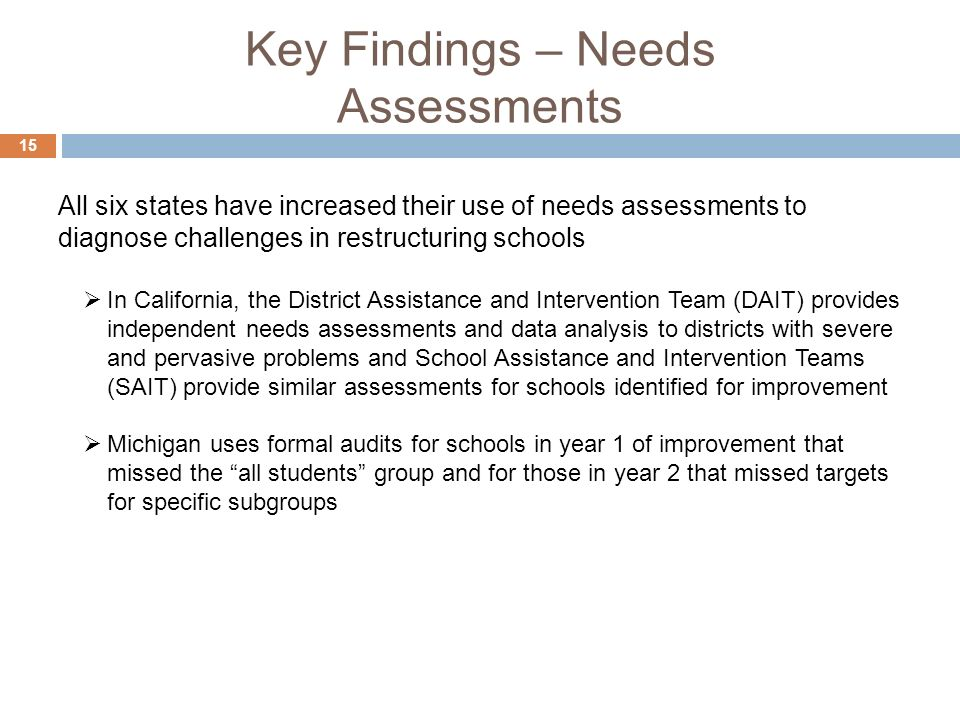 Key Findings – Needs Assessments 15 In California, the District Assistance and Intervention Team (DAIT) provides independent needs assessments and data analysis to districts with severe and pervasive problems and School Assistance and Intervention Teams (SAIT) provide similar assessments for schools identified for improvement Michigan uses formal audits for schools in year 1 of improvement that missed the all students group and for those in year 2 that missed targets for specific subgroups All six states have increased their use of needs assessments to diagnose challenges in restructuring schools