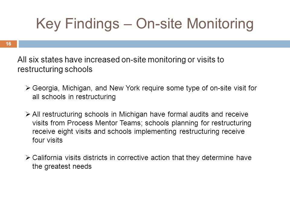 Key Findings – On-site Monitoring 16 Georgia, Michigan, and New York require some type of on-site visit for all schools in restructuring All restructuring schools in Michigan have formal audits and receive visits from Process Mentor Teams; schools planning for restructuring receive eight visits and schools implementing restructuring receive four visits California visits districts in corrective action that they determine have the greatest needs All six states have increased on-site monitoring or visits to restructuring schools
