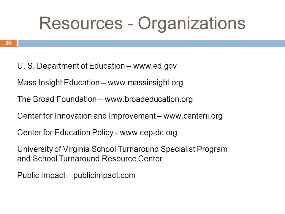 Resources - Organizations 20 U. S.