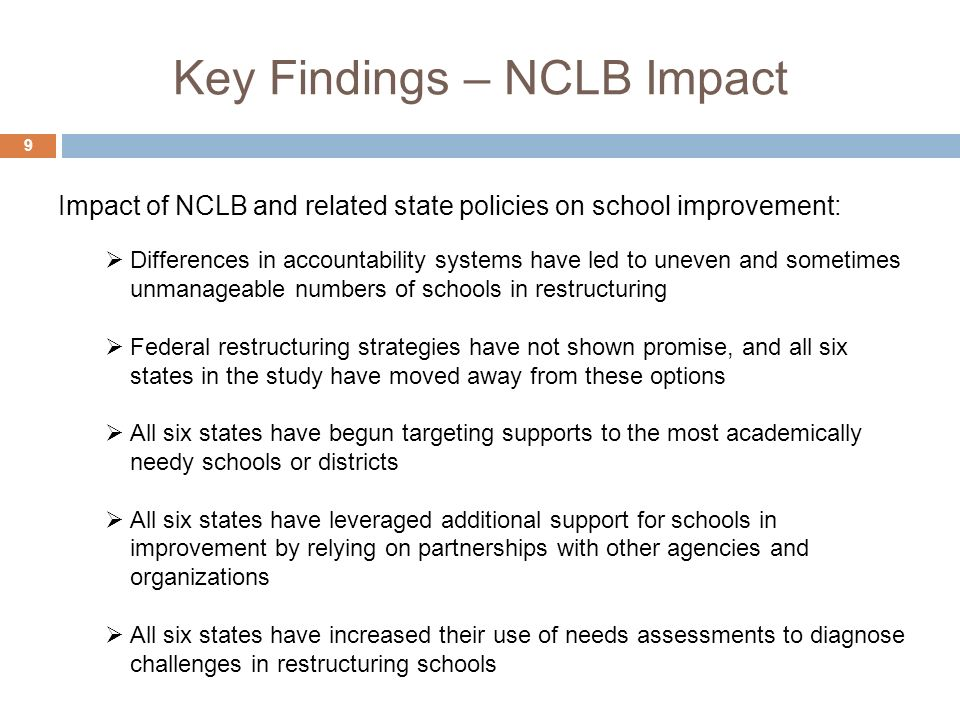 Key Findings – NCLB Impact 9 Differences in accountability systems have led to uneven and sometimes unmanageable numbers of schools in restructuring F