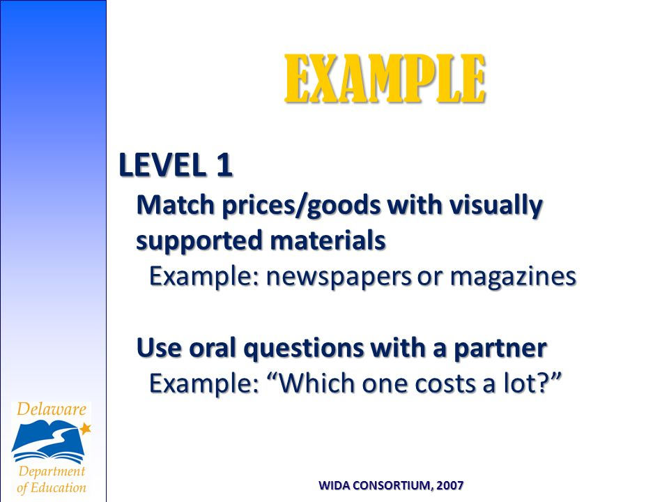 LEVEL 1 Match prices/goods with visually supported materials Example: newspapers or magazines Use oral questions with a partner Example: Which one cos
