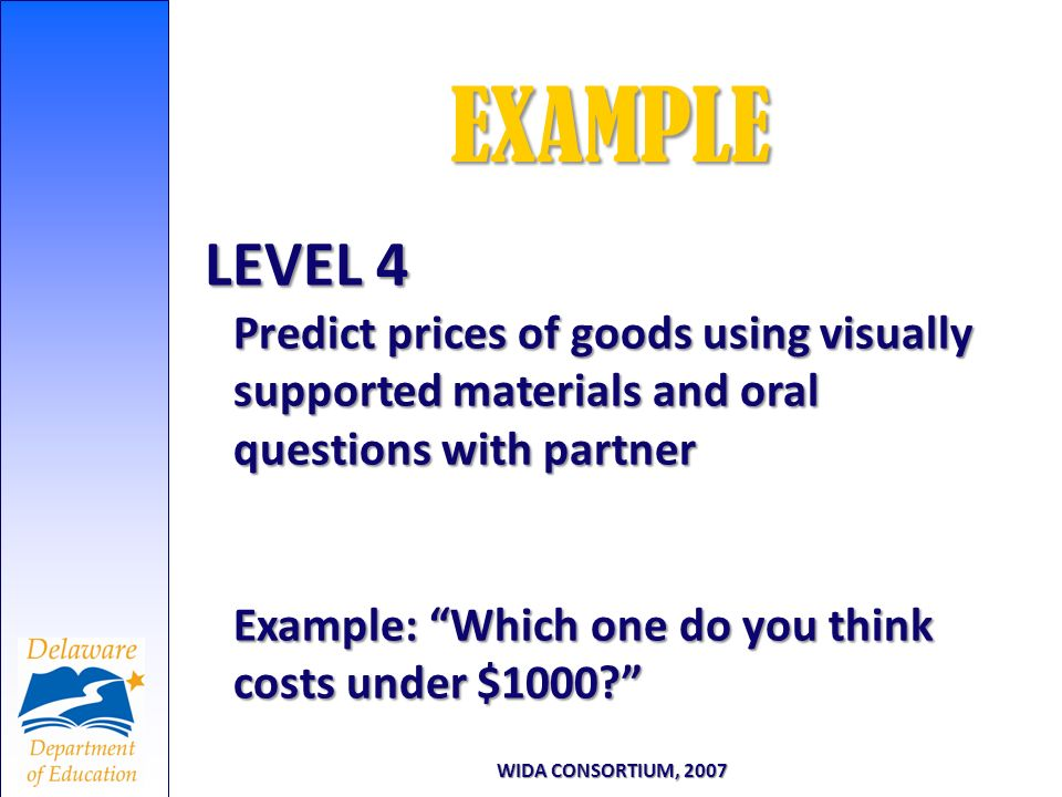 LEVEL 4 Predict prices of goods using visually supported materials and oral questions with partner Example: Which one do you think costs under $1000?