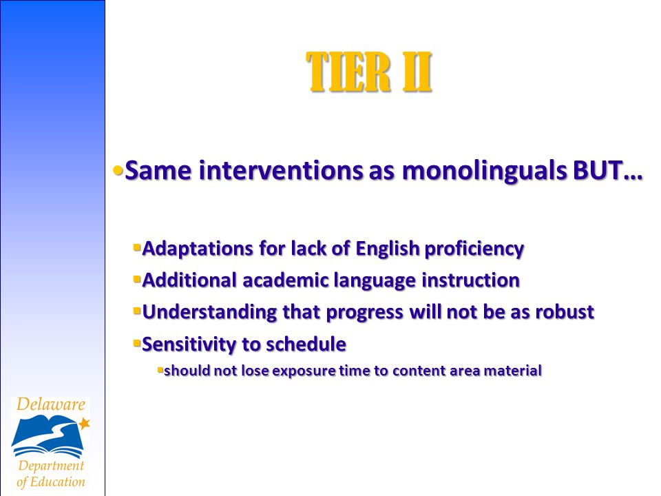 Same interventions as monolinguals BUT…Same interventions as monolinguals BUT… Adaptations for lack of English proficiency Adaptations for lack of Eng