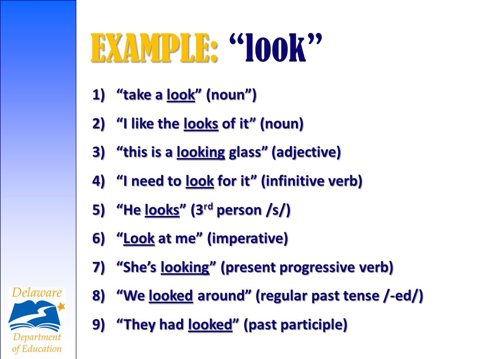 1)take a look (noun) 2)I like the looks of it (noun) 3)this is a looking glass (adjective) 4)I need to look for it (infinitive verb) 5)He looks (3 rd
