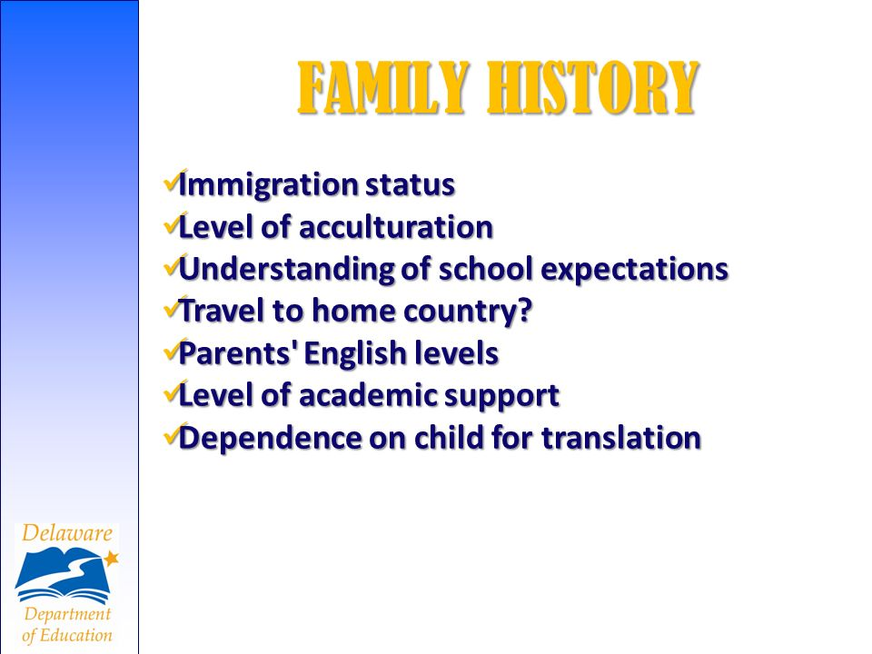 FAMILY HISTORY Immigration status Immigration status Level of acculturation Level of acculturation Understanding of school expectations Understanding