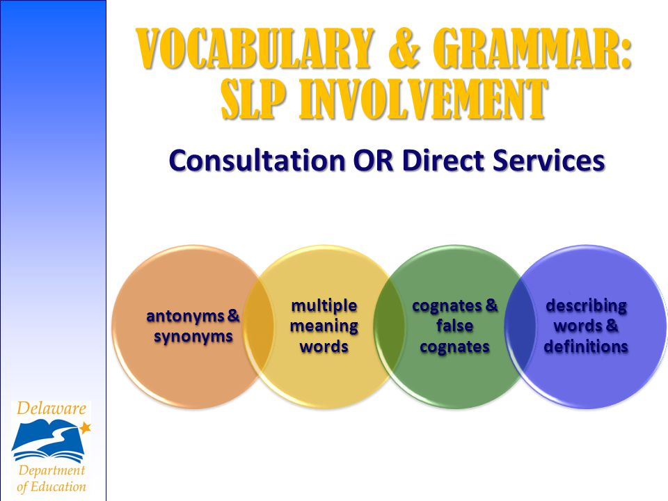 VOCABULARY & GRAMMAR: SLP INVOLVEMENT Consultation OR Direct Services