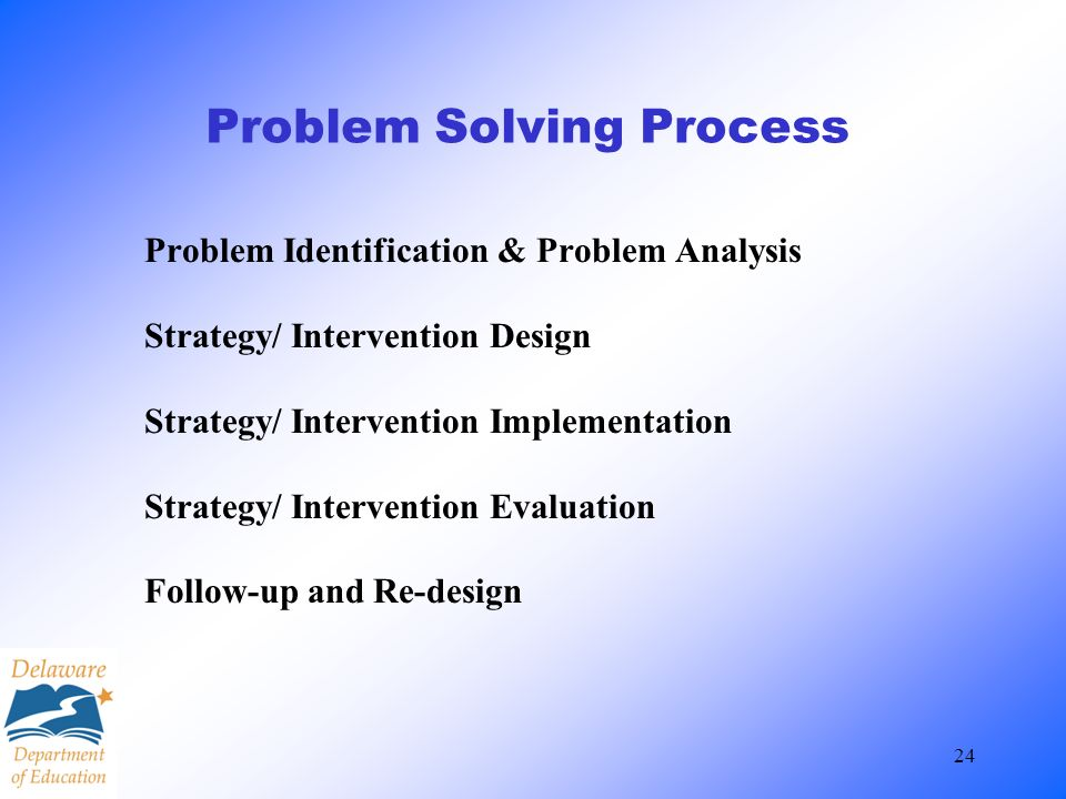 24 Problem Solving Process Problem Identification & Problem Analysis Strategy/ Intervention Design Strategy/ Intervention Implementation Strategy/ Int