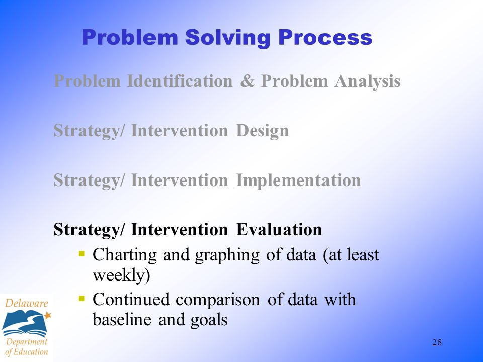 28 Problem Solving Process Problem Identification & Problem Analysis Strategy/ Intervention Design Strategy/ Intervention Implementation Strategy/ Int
