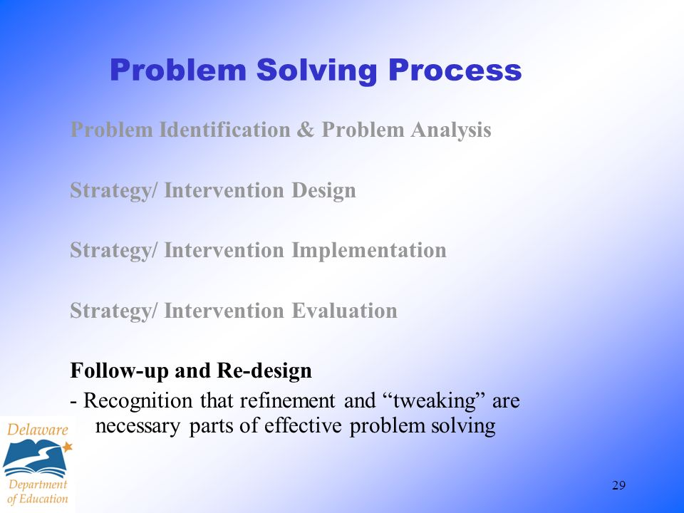 29 Problem Solving Process Problem Identification & Problem Analysis Strategy/ Intervention Design Strategy/ Intervention Implementation Strategy/ Int