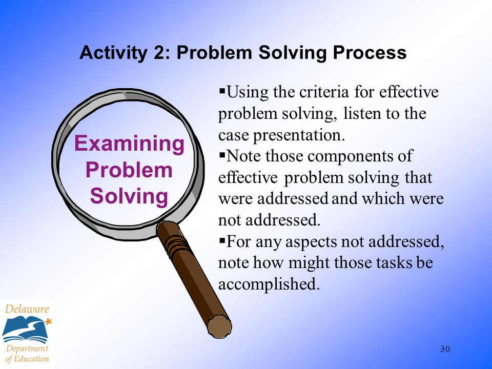 30 Activity 2: Problem Solving Process Examining Problem Solving Using the criteria for effective problem solving, listen to the case presentation. No