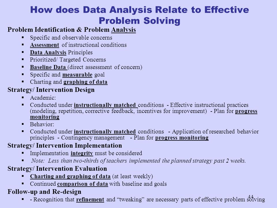 44 How does Data Analysis Relate to Effective Problem Solving Problem Identification & Problem Analysis Specific and observable concerns Assessment of