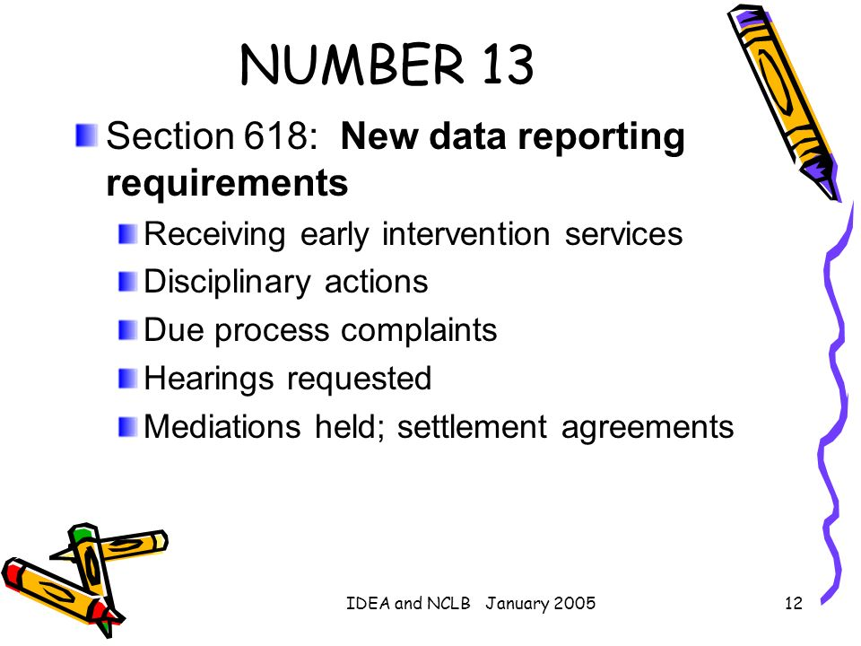 IDEA and NCLB January 200512 NUMBER 13 Section 618: New data reporting requirements Receiving early intervention services Disciplinary actions Due pro