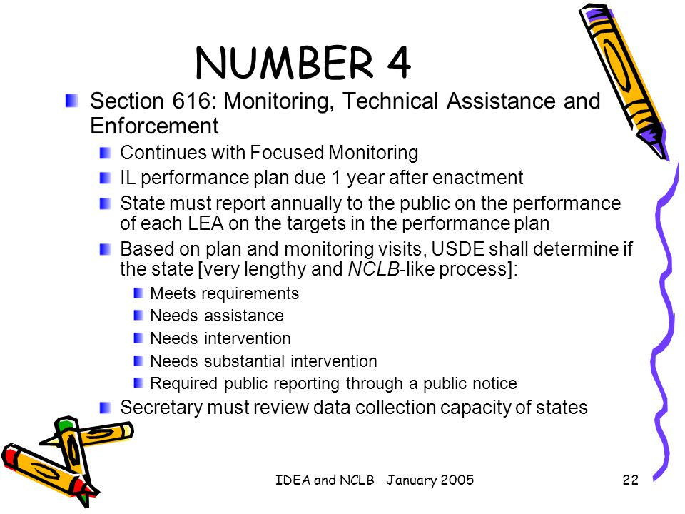 IDEA and NCLB January 200522 NUMBER 4 Section 616: Monitoring, Technical Assistance and Enforcement Continues with Focused Monitoring IL performance p
