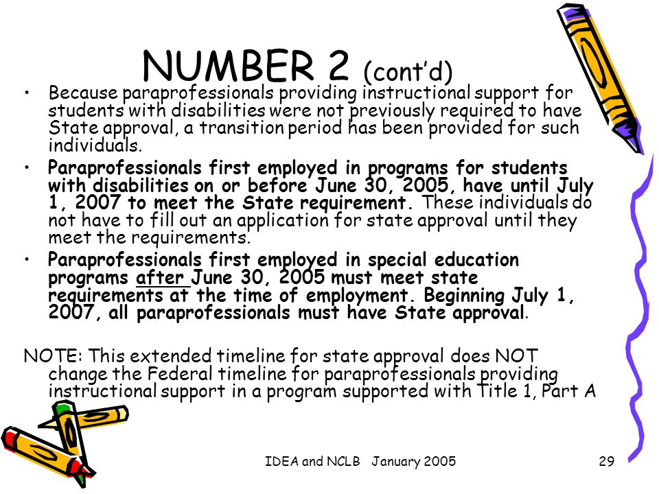 IDEA and NCLB January 200529 NUMBER 2 (contd) Because paraprofessionals providing instructional support for students with disabilities were not previo