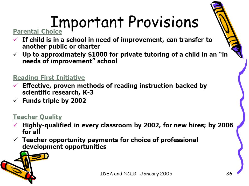IDEA and NCLB January 200536 Parental Choice If child is in a school in need of improvement, can transfer to another public or charter Up to approxima