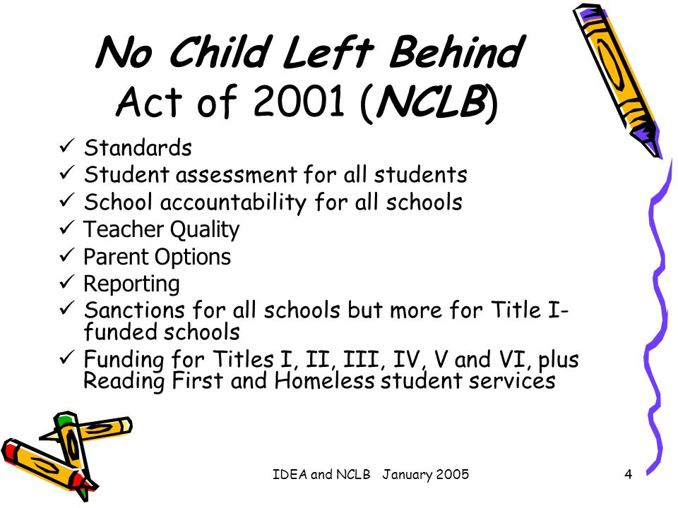 IDEA and NCLB January 20054 No Child Left Behind Act of 2001 (NCLB) Standards Student assessment for all students School accountability for all school