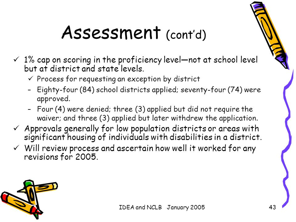IDEA and NCLB January 200543 Assessment (contd) 1% cap on scoring in the proficiency levelnot at school level but at district and state levels. Proces