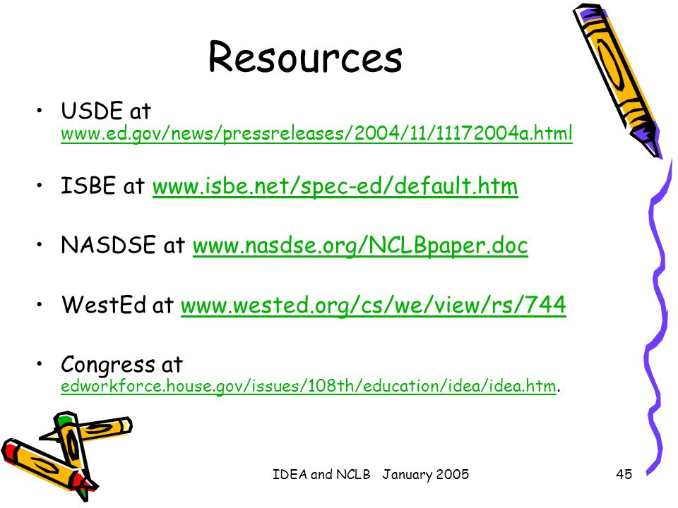 IDEA and NCLB January 200545 Resources USDE at www.ed.gov/news/pressreleases/2004/11/11172004a.html www.ed.gov/news/pressreleases/2004/11/11172004a.ht