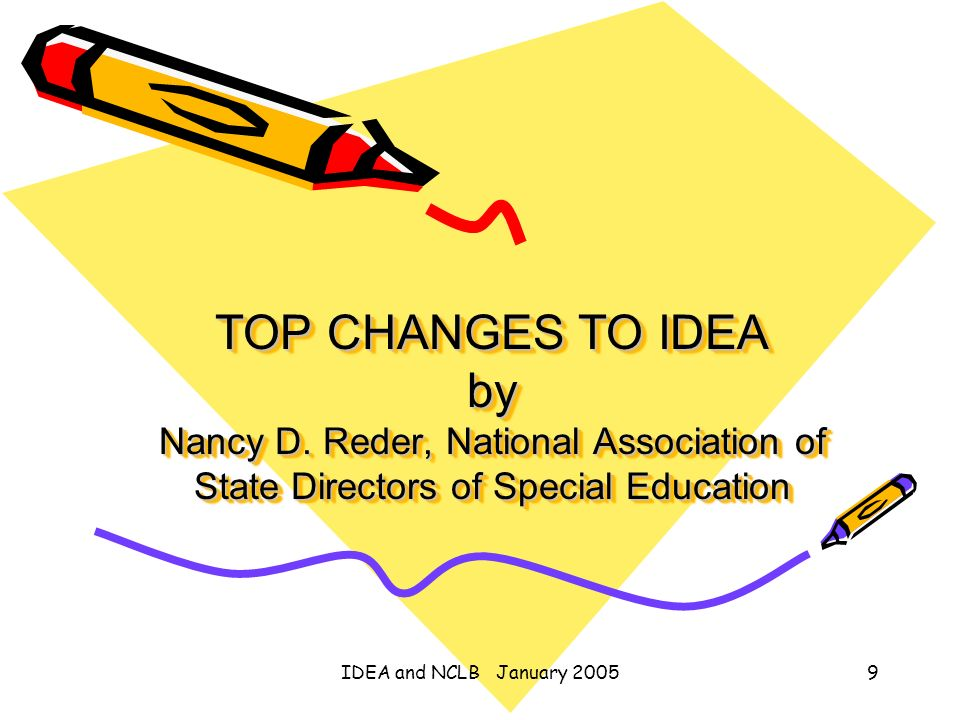 IDEA and NCLB January 20059 TOP CHANGES TO IDEA by Nancy D. Reder, National Association of State Directors of Special Education