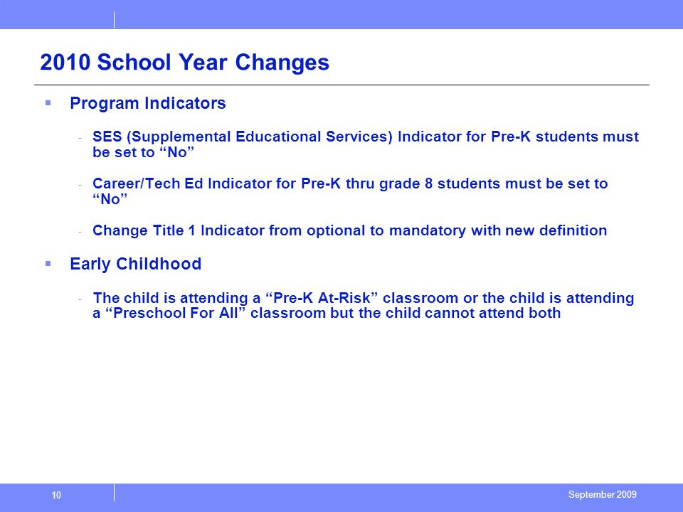 September 2009 10 2010 School Year Changes Program Indicators - SES (Supplemental Educational Services) Indicator for Pre-K students must be set to No - Career/Tech Ed Indicator for Pre-K thru grade 8 students must be set to No - Change Title 1 Indicator from optional to mandatory with new definition Early Childhood - The child is attending a Pre-K At-Risk classroom or the child is attending a Preschool For All classroom but the child cannot attend both