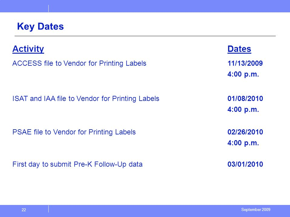 September 2009 22 Key Dates ActivityDates ACCESS file to Vendor for Printing Labels 11/13/2009 4:00 p.m.