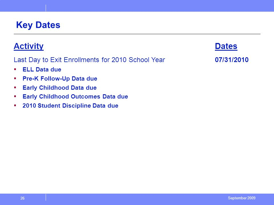 September 2009 26 Key Dates ActivityDates Last Day to Exit Enrollments for 2010 School Year ELL Data due Pre-K Follow-Up Data due Early Childhood Data due Early Childhood Outcomes Data due 2010 Student Discipline Data due 07/31/2010