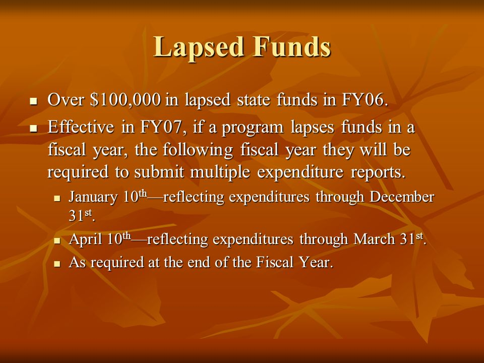 Lapsed Funds Over $100,000 in lapsed state funds in FY06.