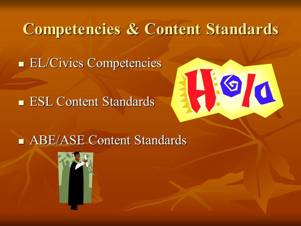 Competencies & Content Standards EL/Civics Competencies EL/Civics Competencies ESL Content Standards ESL Content Standards ABE/ASE Content Standards ABE/ASE Content Standards