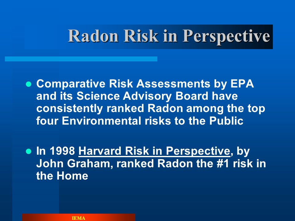 IEMA Sources of Radiation Exposure to US public 2009 Radon - 37% Medical X-Rays - 12% Other - 1% Internal - 5% Nuclear Medicine – 12% Consumer Products - 2% Terrestrial - 3% Cosmic - 5% Average Exposure 620 mrem Assumes average indoor radon concentration of 1.3 pCi/L.