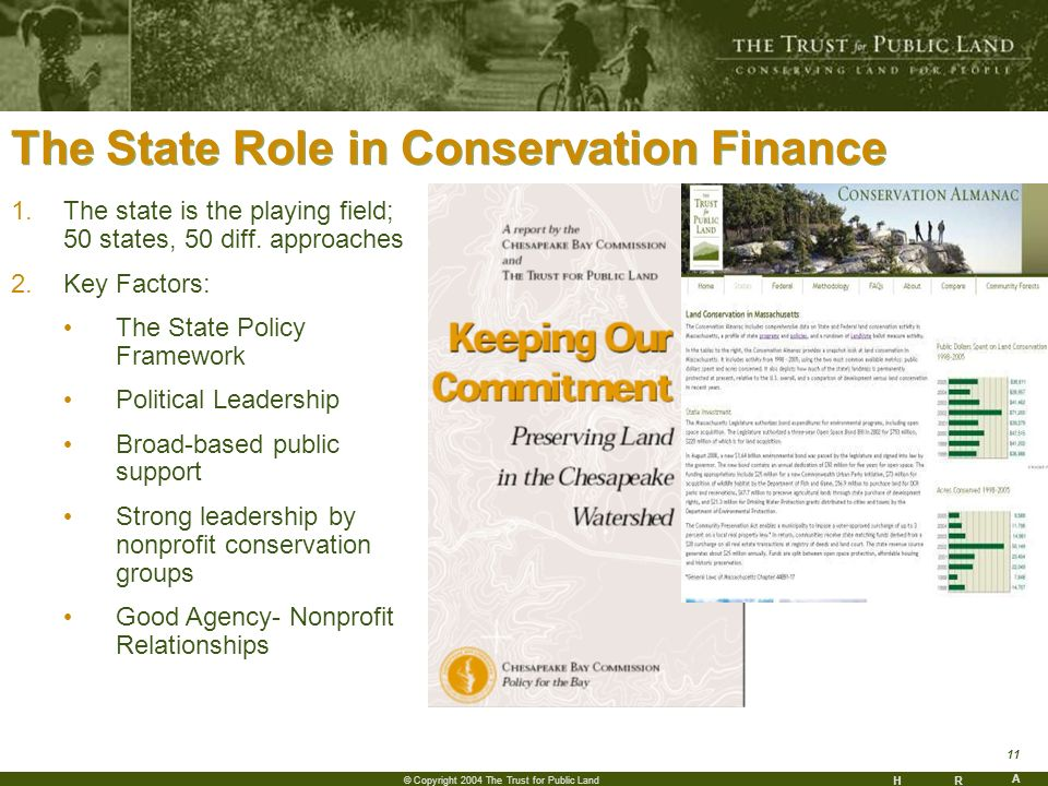HR A 11 © Copyright 2004 The Trust for Public Land The State Role in Conservation Finance 1.The state is the playing field; 50 states, 50 diff.