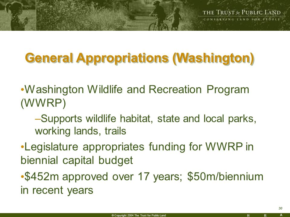 HR A 30 © Copyright 2004 The Trust for Public Land General Appropriations (Washington) Washington Wildlife and Recreation Program (WWRP) –Supports wildlife habitat, state and local parks, working lands, trails Legislature appropriates funding for WWRP in biennial capital budget $452m approved over 17 years; $50m/biennium in recent years