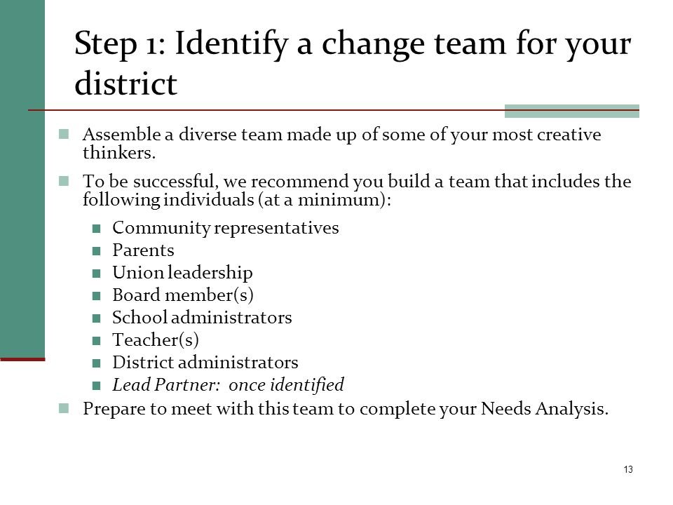 Step 1: Identify a change team for your district Assemble a diverse team made up of some of your most creative thinkers. To be successful, we recommen