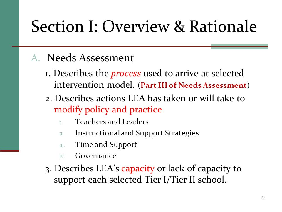 Section I: Overview & Rationale A. Needs Assessment 1. Describes the process used to arrive at selected intervention model. (Part III of Needs Assessm