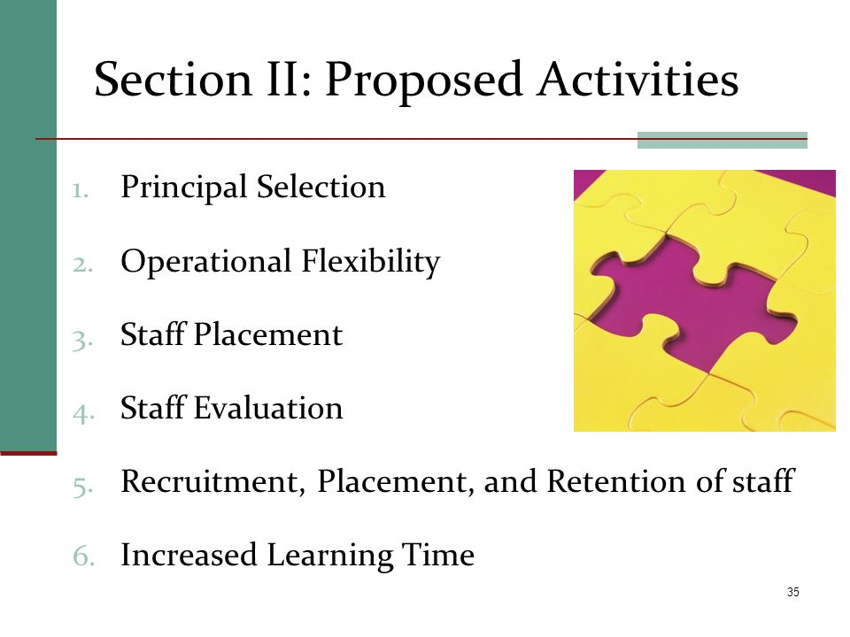 Section II: Proposed Activities 1. Principal Selection 2. Operational Flexibility 3. Staff Placement 4. Staff Evaluation 5. Recruitment, Placement, an