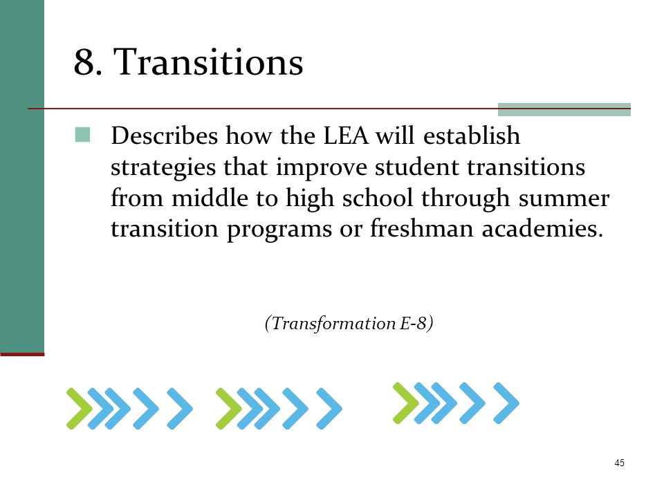 8. Transitions Describes how the LEA will establish strategies that improve student transitions from middle to high school through summer transition p