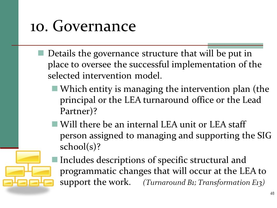 10. Governance Details the governance structure that will be put in place to oversee the successful implementation of the selected intervention model.