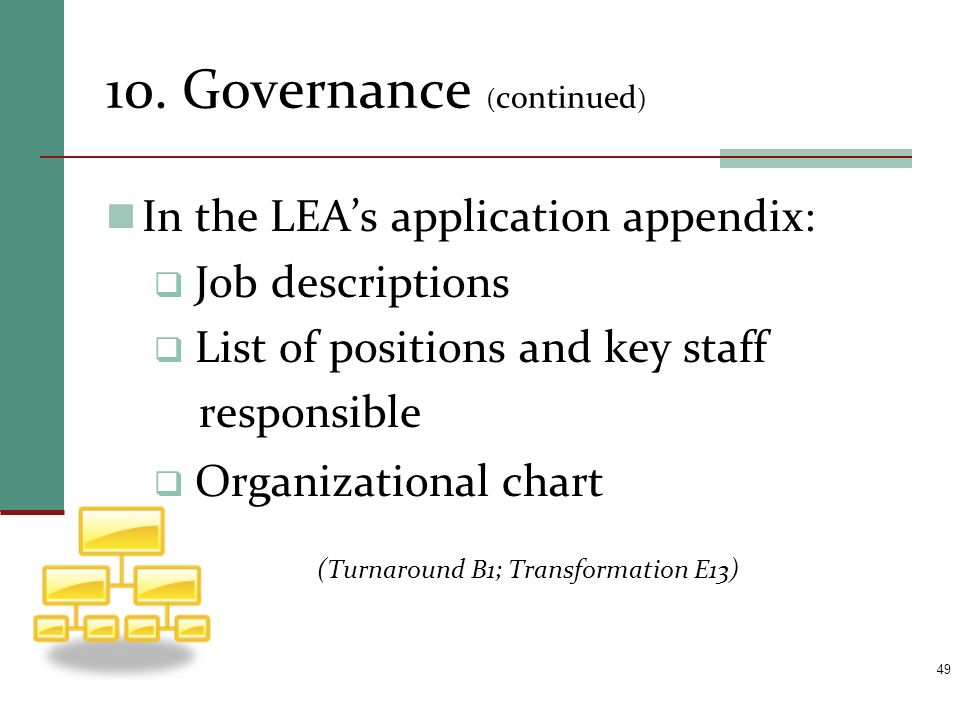 10. Governance ( continued ) In the LEAs application appendix: Job descriptions List of positions and key staff responsible Organizational chart (Turn