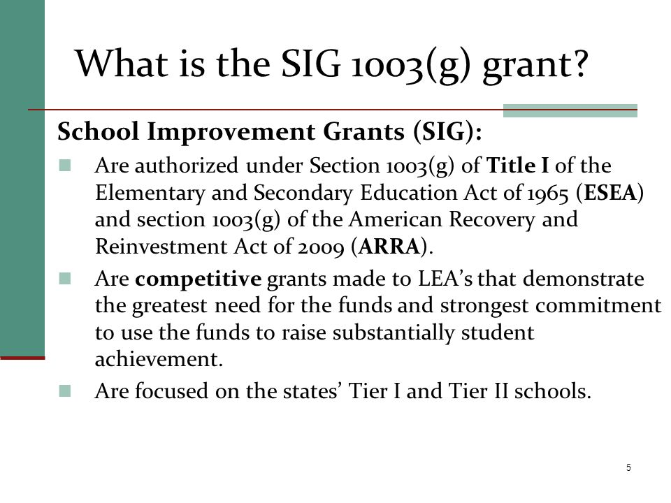 What is the SIG 1003(g) grant? School Improvement Grants (SIG): Are authorized under Section 1003(g) of Title I of the Elementary and Secondary Educat