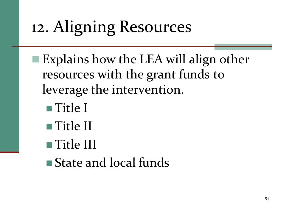 12. Aligning Resources Explains how the LEA will align other resources with the grant funds to leverage the intervention. Title I Title II Title III S