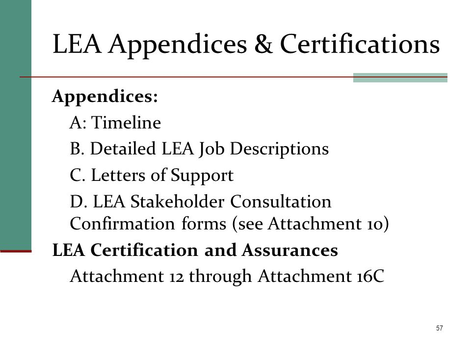 LEA Appendices & Certifications Appendices: A: Timeline B. Detailed LEA Job Descriptions C. Letters of Support D. LEA Stakeholder Consultation Confirm