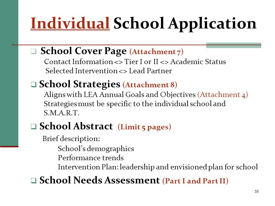 Individual School Application School Cover Page (Attachment 7) Contact Information <> Tier I or II <> Academic Status Selected Intervention <> Lead Pa