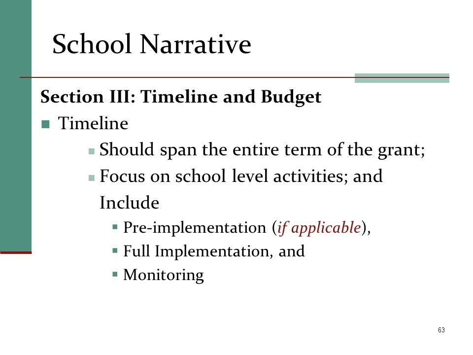 School Narrative Section III: Timeline and Budget Timeline Should span the entire term of the grant; Focus on school level activities; and Include Pre