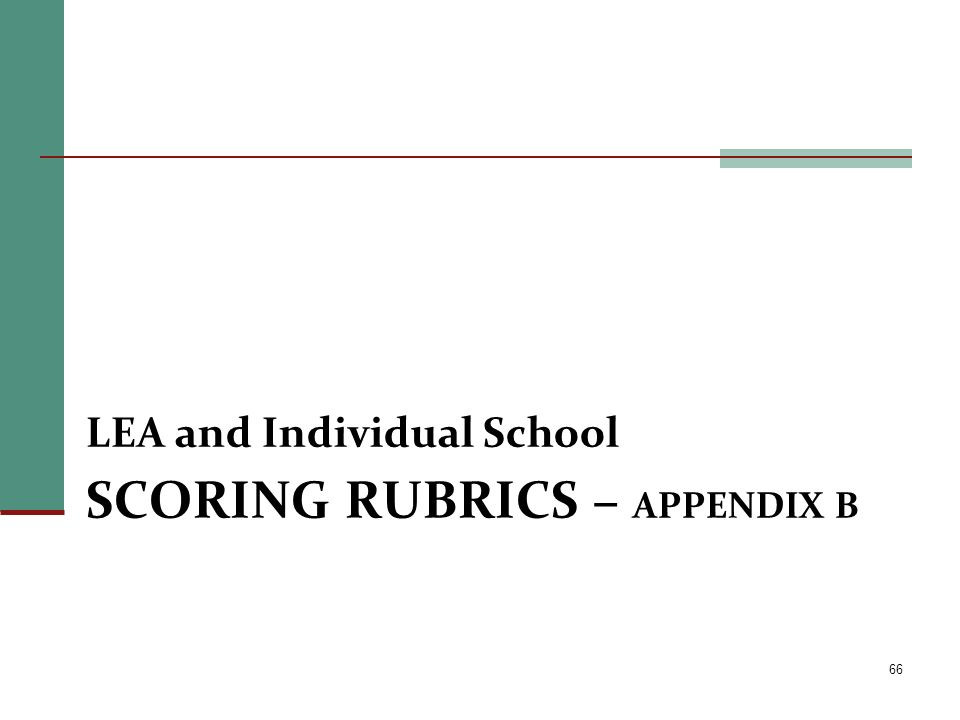 SCORING RUBRICS – APPENDIX B LEA and Individual School 66