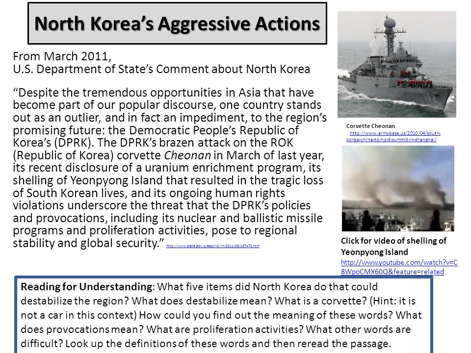 North Koreas Aggressive Actions From March 2011, U.S.