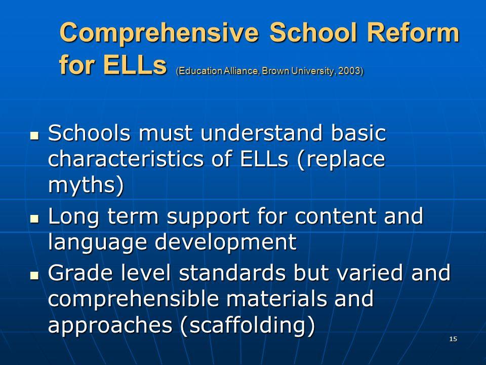 15 Comprehensive School Reform for ELLs (Education Alliance, Brown University, 2003) Schools must understand basic characteristics of ELLs (replace my