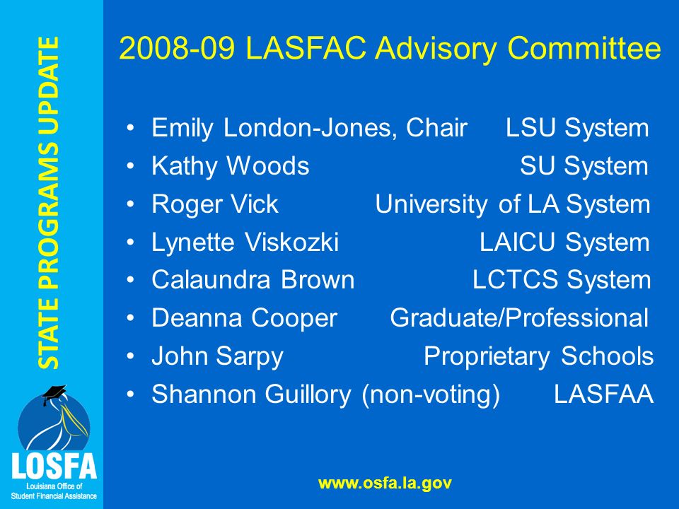 STATE PROGRAMS UPDATE 2008-09 LASFAC Advisory Committee Emily London-Jones, Chair LSU System Kathy Woods SU System Roger Vick University of LA System Lynette Viskozki LAICU System Calaundra Brown LCTCS System Deanna Cooper Graduate/Professional John Sarpy Proprietary Schools Shannon Guillory (non-voting) LASFAA www.osfa.la.gov
