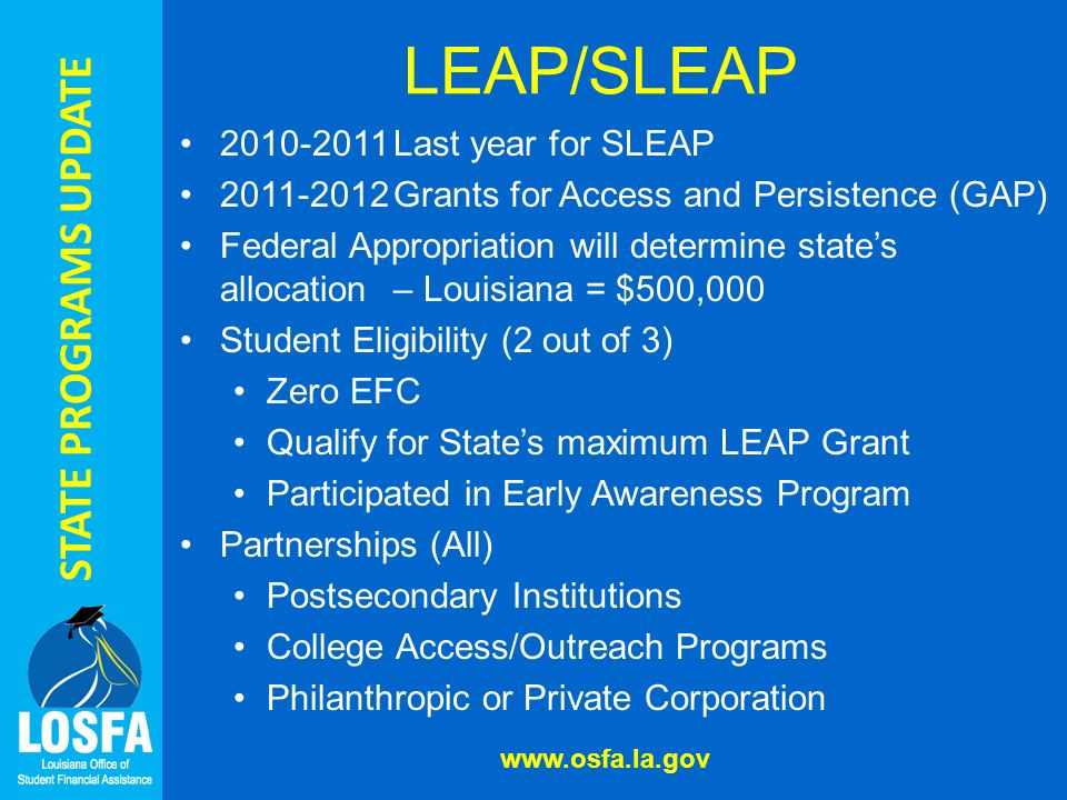 STATE PROGRAMS UPDATE LEAP/SLEAP Last year for SLEAP Grants for Access and Persistence (GAP) Federal Appropriation will determine states allocation – Louisiana = $500,000 Student Eligibility (2 out of 3) Zero EFC Qualify for States maximum LEAP Grant Participated in Early Awareness Program Partnerships (All) Postsecondary Institutions College Access/Outreach Programs Philanthropic or Private Corporation