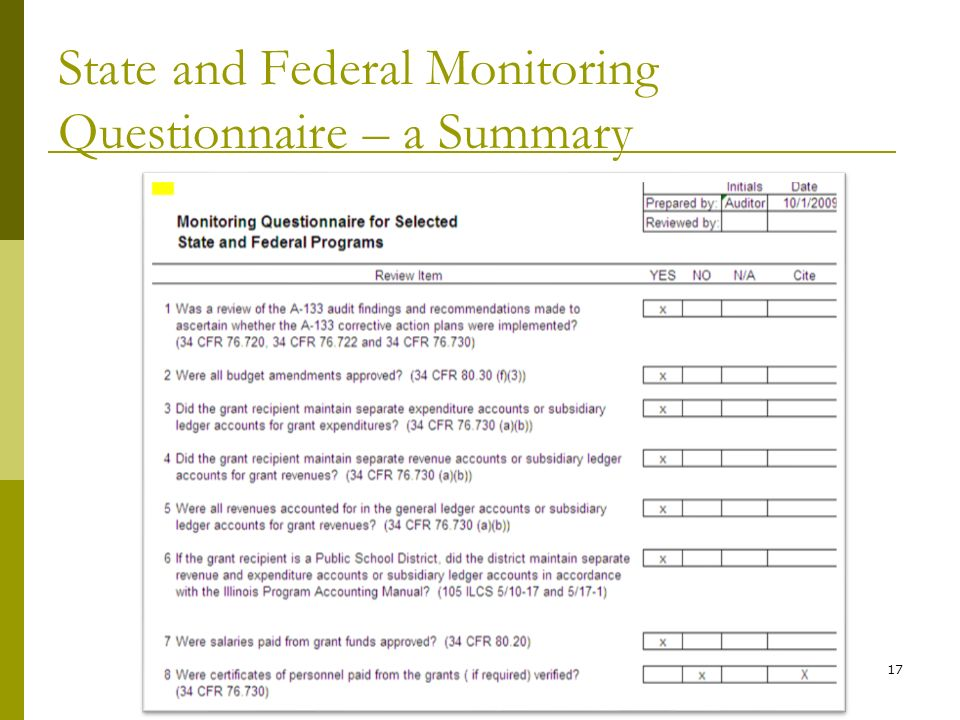 State and Federal Monitoring Questionnaire – a Summary 17